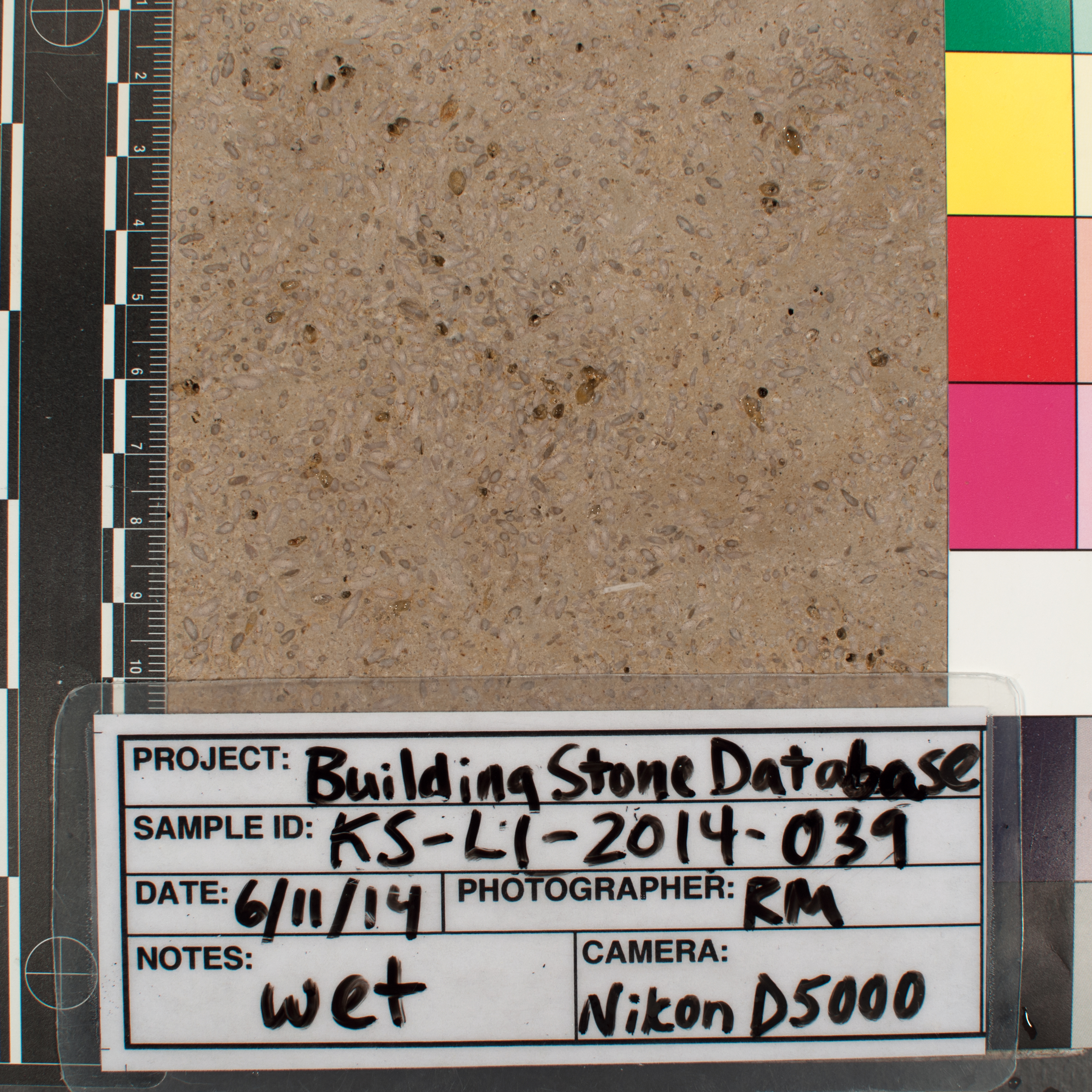 Close-up image of specimen in wet conditions. Finish: