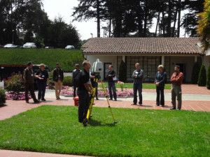 A representative from Leica geosystems demonstrates their Scanstation C10 laser scanner during the 3D Digital Documentation Summit held at the Presidio of San Francisco, CA.