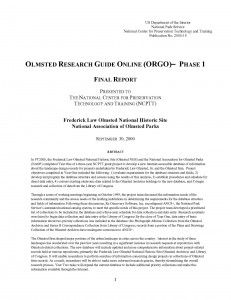Olmsted Research Guide Online (ORGO) Phase 1 - Document Cover
