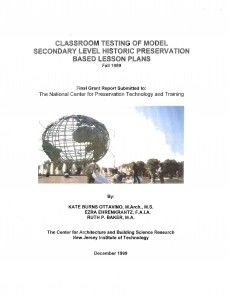 Classroom Testing of Model Secondary Level Historic Preservation-Based Lesson Plans - Document Cover