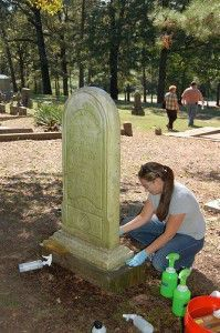 Cleaning a headstone