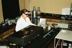 MRP Stace Miller cleans graffiti from a marble sample using the Nd YAG laser (Mary Striegel)