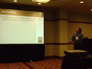 """Jason Church presents """"Effects of Hard Water on Granite Tombstones in the Southwest United States"""" at the RATS session o fthe AIC Conference in Denver, Colo."""