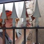 Conservator Rose Daly primes a treated cast iron fence during the 2009 Ornamental Iron Workshop.