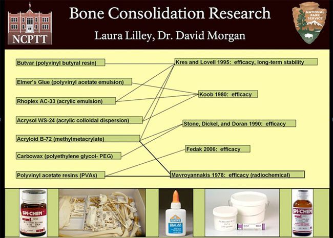 This graphic, by Laura Lilley, illustrates all bone consolidant comparative tests that she could identify last summer.  Megan Smith, of Texas A&M, will pursue this research agenda further.