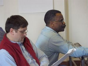 Robbert McKay and Jim Turner attend the MHPN public workshop on March 15.