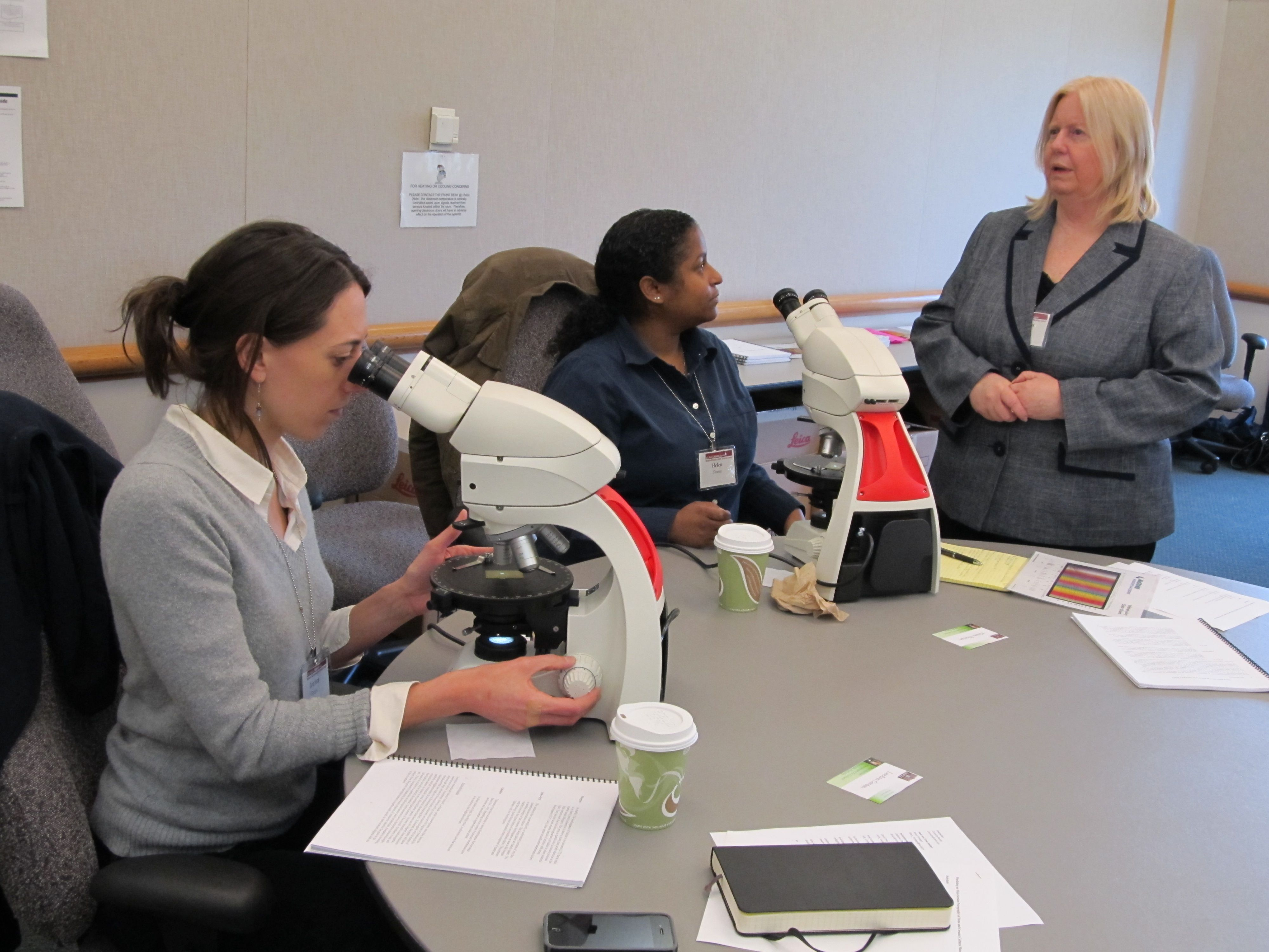 Chandra Reedy helps students during the 2012 Petrography for Conservation class