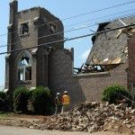 Structures like the historic Long Memorial Methodist Church in Cordova, Ala. are being assessed using NCPTT's updated forms.  The church was damaged by the deadly April tornado.  Photograph courtesy of FEMA.
