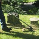 Trimming grass in an historic cemetery.