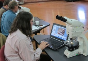 Participant views a pottery thin-section.