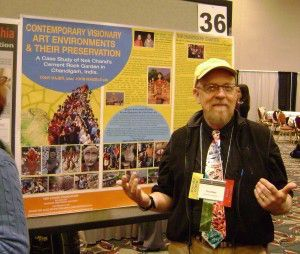 Tony Rajer and his poster presentation on the Nek Chand Foundation at the AIC annual conference in Milwaukee.