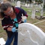 Workshop participant Cindi Giametta applies a poultice to iron stained marble. Photo: Mary Striegel.