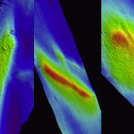 Multibeam depth data (left: EM 3002; center, right: Reson 8125 viewed with CARIS subset editor) for several curious mounds observed in the Hudson River