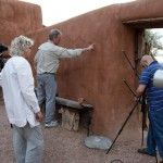 Setting up for RTI image capture of Abiquiu main entrance