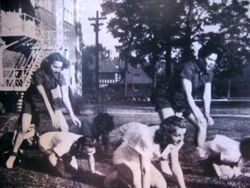 Women doing calisthenics at Nelson Hall