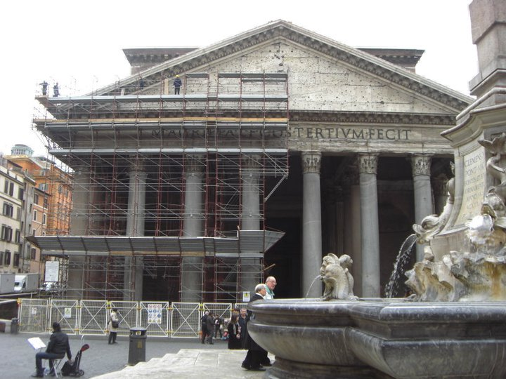 January 2011 exterior cleaning of the Pantheon. Photo By: Stephanie Byrd
