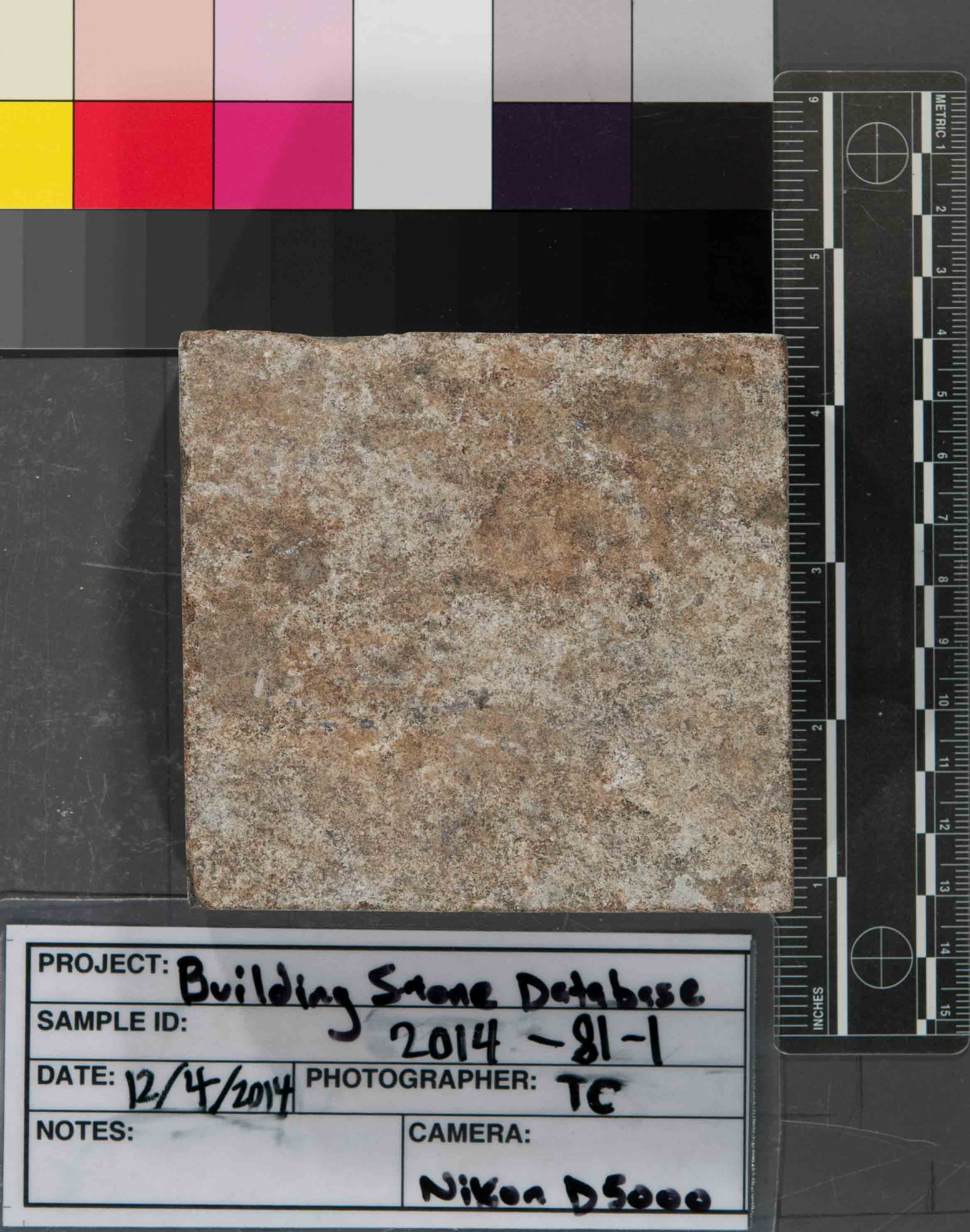 Image of specimen in dry conditions. Finish: