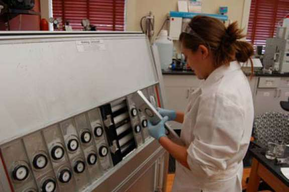Figure 11. Marble samples being removed from the QUV weatherometer during a dark cycle to be treated with cleaner.