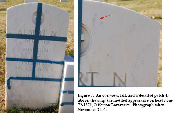 Figure 7. An overview, left, and a detail of patch 4, above, showing the mottled appearance on headstone 72-1370, Jefferson Bararacks. Photograph taken November 2006.