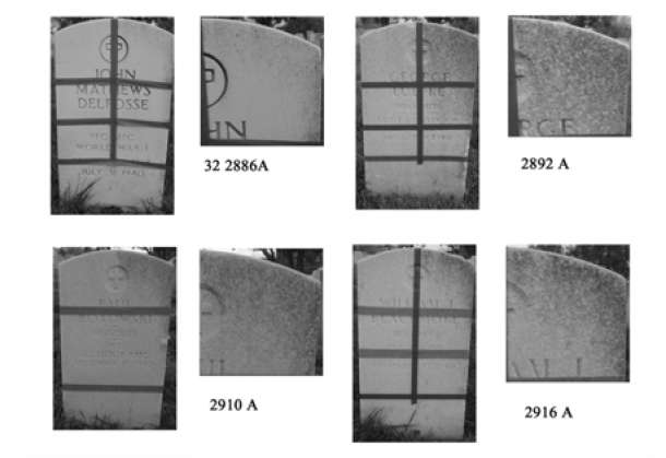 Figure 9. Overview and detail photographs of four headstones found in shady locations of Jefferson Barracks National Cemetery are shown. Microbial activity is found predominantly on patches cleaned with H2Orange cleaner.