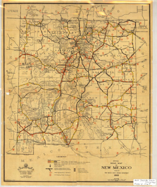 official road map of new mexico 1933 center for southwest research mss 360
