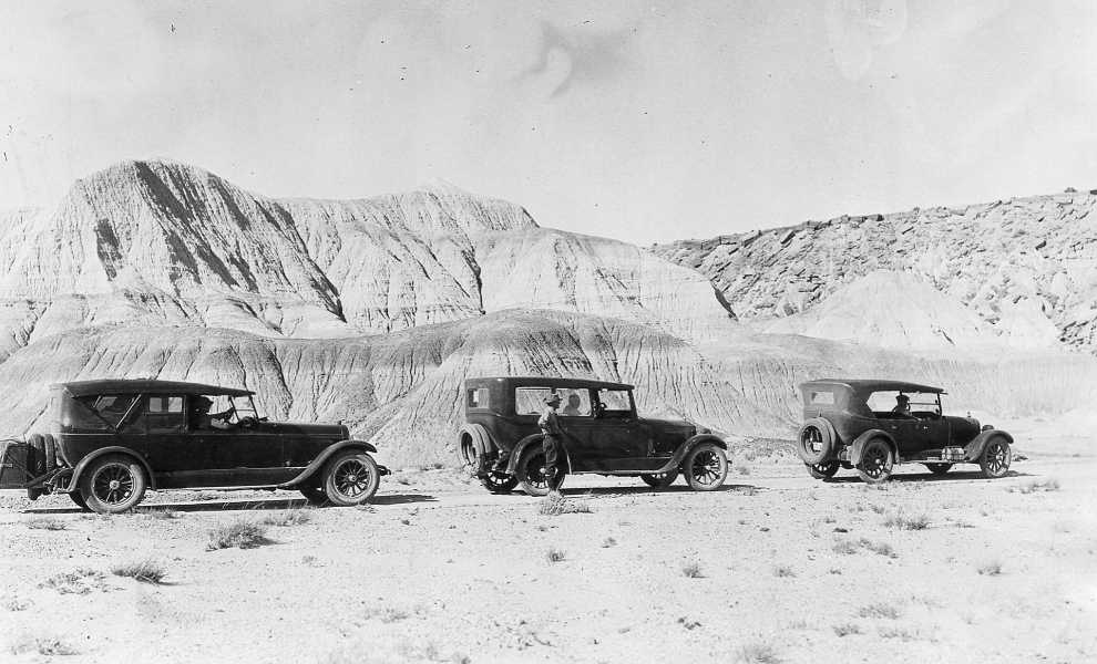 archival photo of Route 66 in Petrified Forest National Park