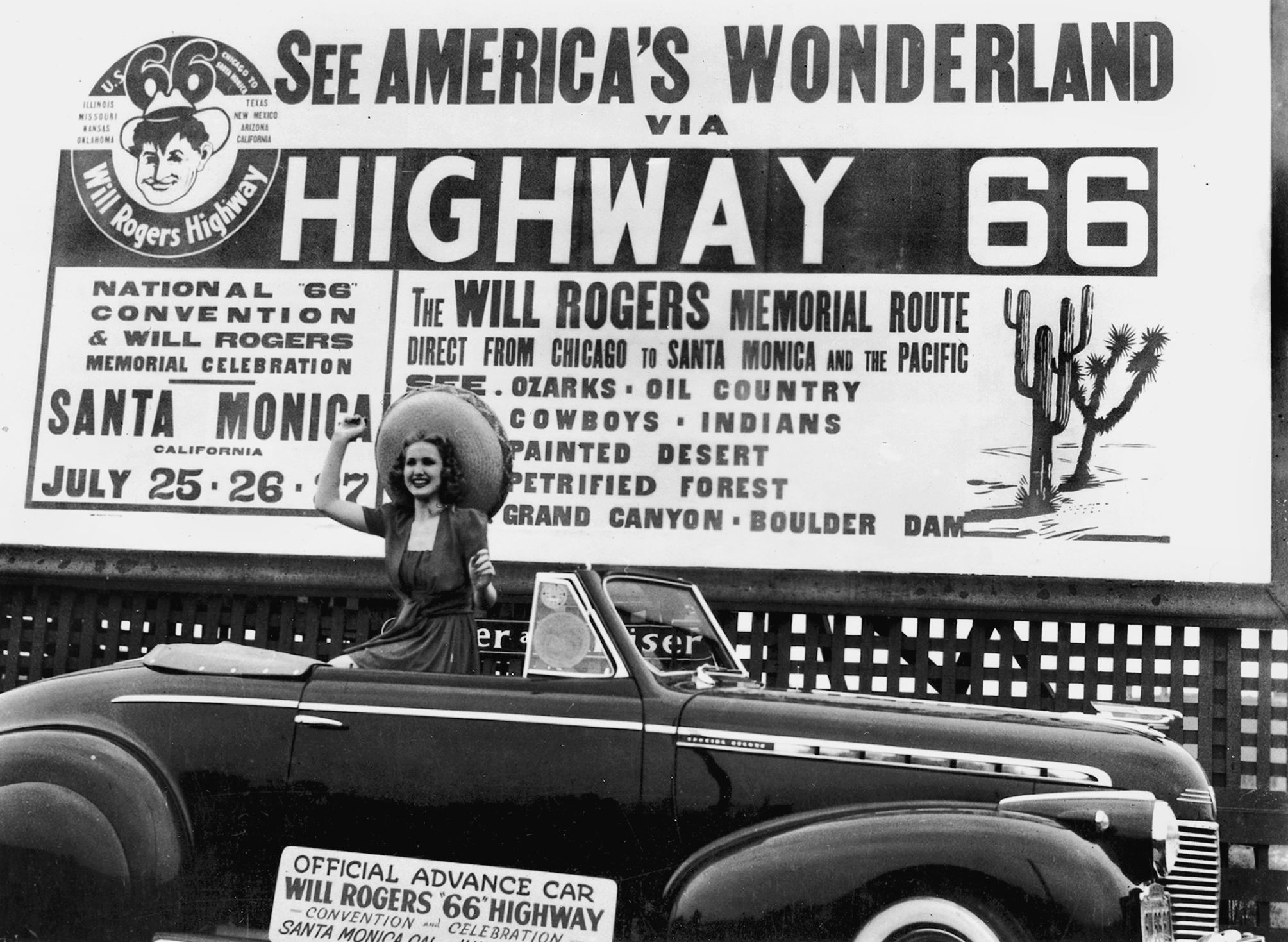 Highway 66 Association conference billboard, 1940s.