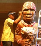 Working on a Totem pole.