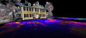 A composite image showing the products of 3D laser scanning and ground penetrating radar at Longfellow House.