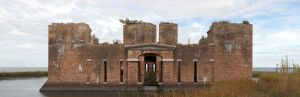 Stitched panoramic image created by LSU students in documenting Fort Proctor, St. Bernard Parish, LA.