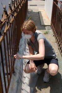 Participant Rose Daly prepares ornamental iron fence for rust conversion as part of New Orleans workshop.