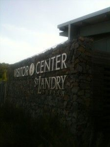 The St. Landry Parish Visitor's Center uses gabion wall construction for both sustainable aesthetics and use. Photo From: Paul Cady