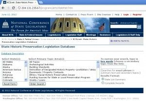 Screenshot of the State Historic Preservation Legislation Database
