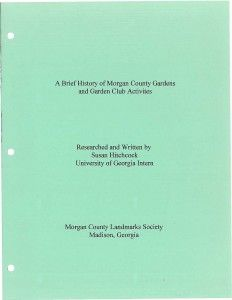 A Brief History of Morgan County Gardens and Garden Club Activities - Document Cover