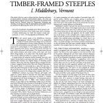 Historic American Timber-Framed Steeples: I. Middlebury, Vermont (2008-12):