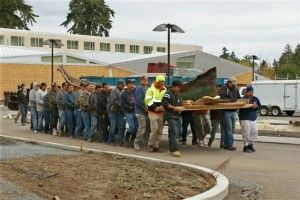 Dugout canoe moved to the Hibulb Cultural Center for Conservation.
