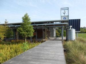 The St. Landry Parish Visitor's Center uses photovoltaic panels, reclaimed wood, a cistern, a windmill, and passive design.  Photo From: Stephanie Byrd