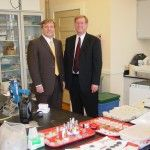 John Fleming (left), representative for the fourth congressional district of Louisiana, visited the National Center for Preservation Technology and Training on Feb. 16. He visited NCPTT's headquarters in Natchitoches, Louisiana. He is pictured here with Kirk Cordell, NCPTT's executive director.