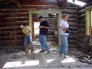Members of the Montana Preservation Alliance record an abandoned homestead in the Tongue River Valley, Montana using GPS, video, and metric methods (PTTGrant MT-2210-05-NC-11).