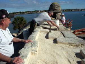 Preservation work at Fort Sumter National Monument in 2008.