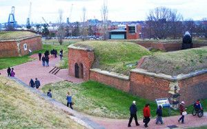 Fort McHenry, a star-shaped coastal fort that defended Baltimore Harbor.