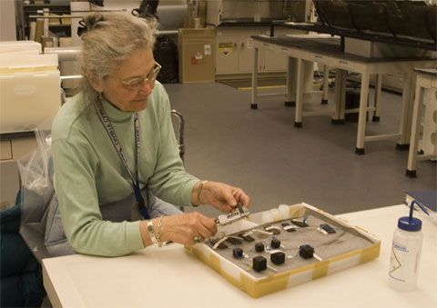 Betty Seifert at the Maryland Archaeological Conservation Laboratory