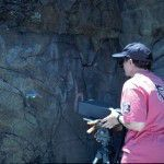 Claire Dean uses laser to clean rock images.