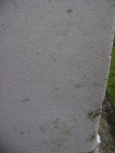 Up close to the cleaned obelisk, serious surface alterations can be seen.