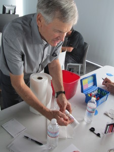Conservator Martin Burke demonstrates water quality testing at the Fountain Fundamentals Training Event