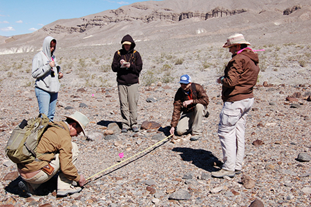 Archeological Mapping course participants conduct a site survey at Death Valley National Park.