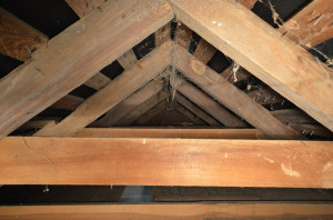 Interior shot of the roof structure taken after removing a section of the ceiling.