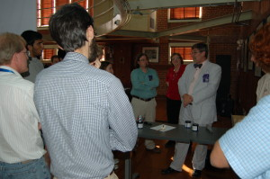 John Pojman explains frontal polymerization to students and staff at NCPTT.