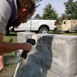 Participant of the 2009 Nationwide Cemetery Preservation Summit, in field session on dry ice dusting.