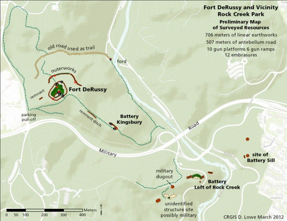 Fort DeRussy and Vicinity Rock Creek Park. Preliminary map of surveyed resources.